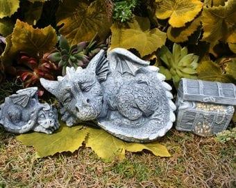 Concrete Dragons - Mother & Baby Dragon Sleeping - 3 Piece Fairy Garden Set For Your Enchanted Garden - Outdoor Decor