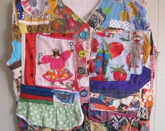 many colors Collage Clothing Wearable Fabric Folk ART Tunic Vest  -- Plus XL - mybonny random scraps
