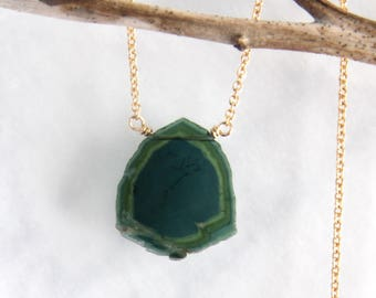 Watermelon Tourmaline Necklace, Green Tourmaline Slice Necklace, Blue Tourmaline Necklace - Gold Filled