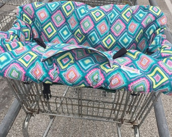 High Chair Cover Shopping Cart cover  for boy or girl.....Geometric diamonds