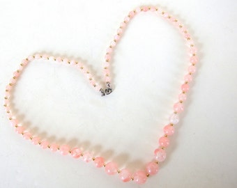 Vintage 1980's Pink Plastic Bead Necklace with Gold Spacers