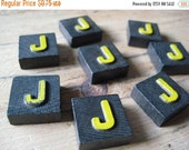 VALENTINES SALE Vintage Wood Anagram Game Pieces, J Initial, Create your own word or saying, Word Art, Home Decor, Custom Order
