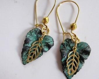 Tiny Patina Leaf Earrings, Gold Skeleton leaf, Botanical Earrings, Garden Earrings, Earring/necklace Set, gardendiva