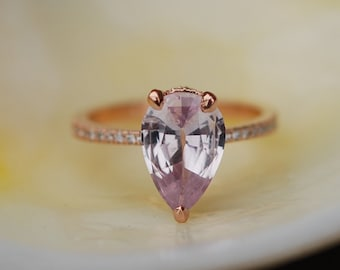 Engagement Ring Peach champagne Sapphire Engagement Ring 14k Rose Gold 2.18ct, Pear Peach Sapphire Ring. Engagement ring by Eidelprecious