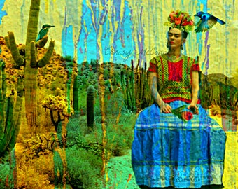 Frida Kahlo Love of Mexico Fine Art Poster Print Instant Digital Download Original  Photomontage Modern Wall Home Decor Fusion Painting