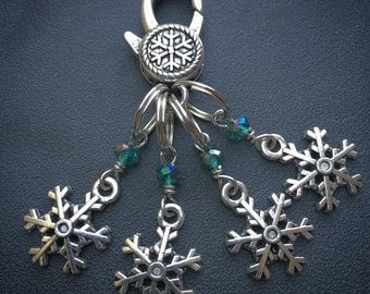 Solstice Snowflakes: Set of 4 Winter Snowflake Stitch Markers with Snowflake Clasp