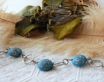 Sale.....One of a Kind Sterling Silver and Lampwork Glass Bracelet