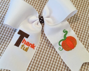 Embroidered Thankful Pumpkin Hair Bow Big Bow Ponytail Thanksgiving