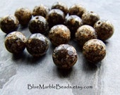 Vintage Bead, Lucite Bead, Brown Beads, Italian Lucite, Tribal Bead, Earthy Bead, Rustic Bead, Organic Bead, Boho Bead, Faux Stone, 16 Beads