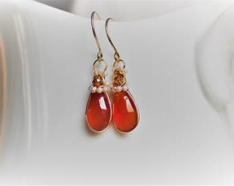 Carnelian Gold Earrings