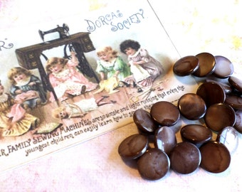 20 Vintage Brown Pearl Buttons 3/8 Inch from Muscatine, Iowa for Sewing, Crafts, Scrapbooking, Cardmaking, Jewelry