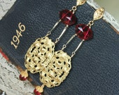 Vintage Ruby Glass, Vermeil and Gold Brass Earrings