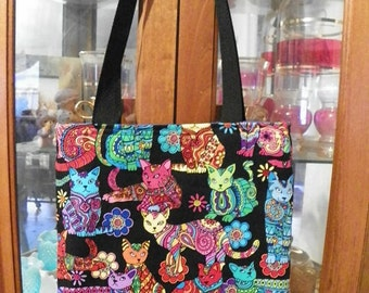 Mosaic Cat Toss Tote Bag Kitten Kitty Colorful Handmade Purse Limited