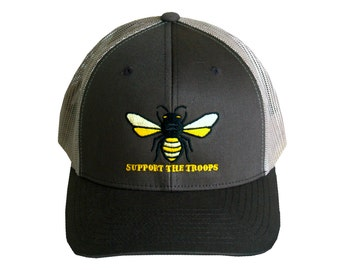 """Honeybee """"Support the Troops"""" Brown and Tan Baseball Trucker Hat"""