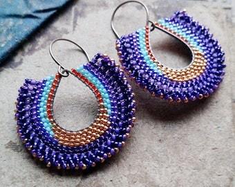 Sunset Bead Earrings, Gold, blue and purple Beaded Hoops, Brass Dangle Earrings