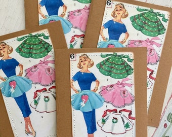 Vintage Apron Card Set Pattern Retro Fifties 50s Housewife Sew 4 Large Greeting Cards