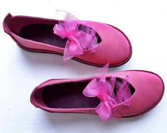 UK 5, Handmade Ladies Shoes, Leather Fairytale CLARA #3230 mischief pink