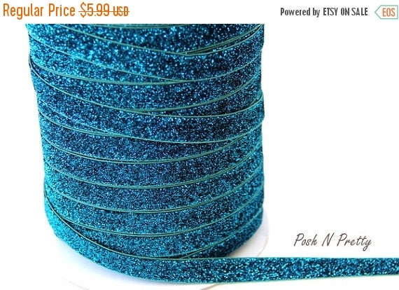 20% OFF EXP 3/24 5/8 Glitter Stretch Velvet Elastic 5 YARDS - No Flake - Turquoise