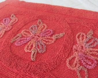 Vintage Cotton Chenille Bath Rug Mat Brick Red Floral - Shabby Cottage Chic
