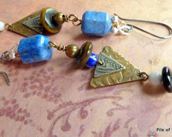 Redefined* Long Eclectic Lapis Earrings / Organic Ethnic / Mixed Metal / Blue Brown Sterling Brass / Geometric / African Trade Beads