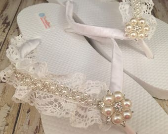 Megan Bridal Flip Flops, Custom Flip Flops Dancing Shoes, Beaded Lace Bridal Sandals, Wedding Flip Flops, Beach Wedding Bridal Shoes