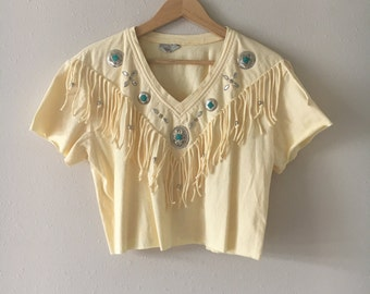 Pale Yellow Vintage Crop Top Western Embellished Tee