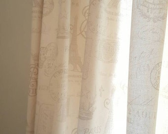 French Stamp Neutral Drapery Panels - Pair/ 2 Panels - Premier Prints French Stamp Grey/Natural