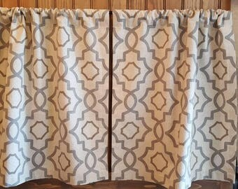 Kitchen Cafe Curtains - 2 panels/ 1 pair - Custom sizes and matching valance available