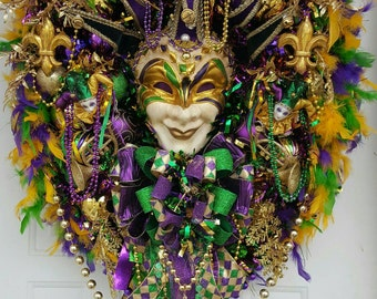 XXL Mardi Gras wreath, Fat Tuesday, Huge, door wreath, Fleur De Lis, Masquerade  New Orleans