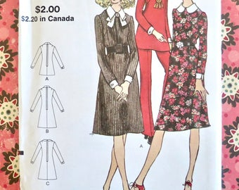 Vintage 1970s Womens Dress, Tunic and Pants Pattern - Vogue 8161