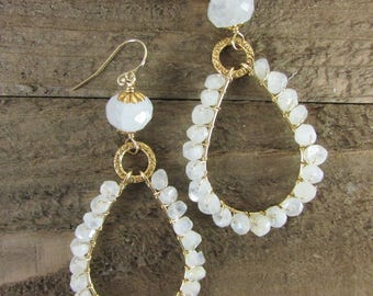 Moonstone & Gold Earrings, Natural Flash Moonstone Chandeliers, Wire Wrapped Jewelry