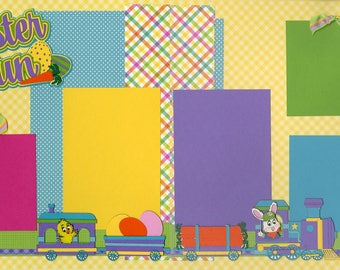 Easter Fun Premade Scrapbooking Page Layout 12 x 12