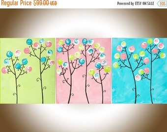 Nursery art set of 3 Colourful painting teal pink green whimsical wall art wall decor abstract swirl flower painting Impasto canvas painting