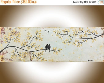 "Abstract painting Neutral art love birds original artwork canvas art canvas painting home decor wall art shabby chic ""Vintage Love"""