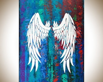 """Angel's wing Abstract art original artwork wall art wall decor wall hanging white red green blue purple """"Angel's Wings"""" by qiqigallery"""