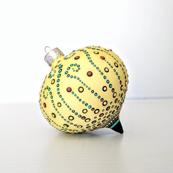 Glass ornament: yellow hand painted Onion shaped glass ornament dot Painting colorful painted ornament