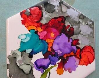 Hexagon Tile painting Abstract Iris