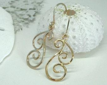 Gold Dangle Earrings - Gold Swirl Earrings - Gold Wave Earrings - 14kt Gold Artisan Geometric Earrings - Unique Ocean Inspired Jewelry