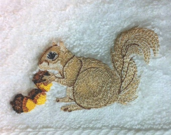 Squirrel Gathering Acorns for the Winter Embroidered Hand Towel - FREE Shipping