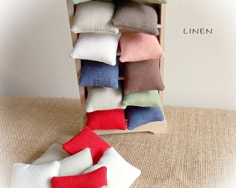 Spring Sale...Linen Dollhouse Pillows...Miniature Cushions in Plain Linen...Dolls' House Cushions...Selection of Colours