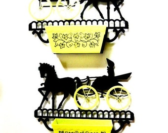 HOLIDAY SALE - Vintage Kitsch Plastic Wall Flower Planters, Pair, Horse and Buggy and Planters