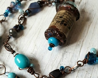 Music at Sea Enameled and Wire Wrapped Copper Necklace