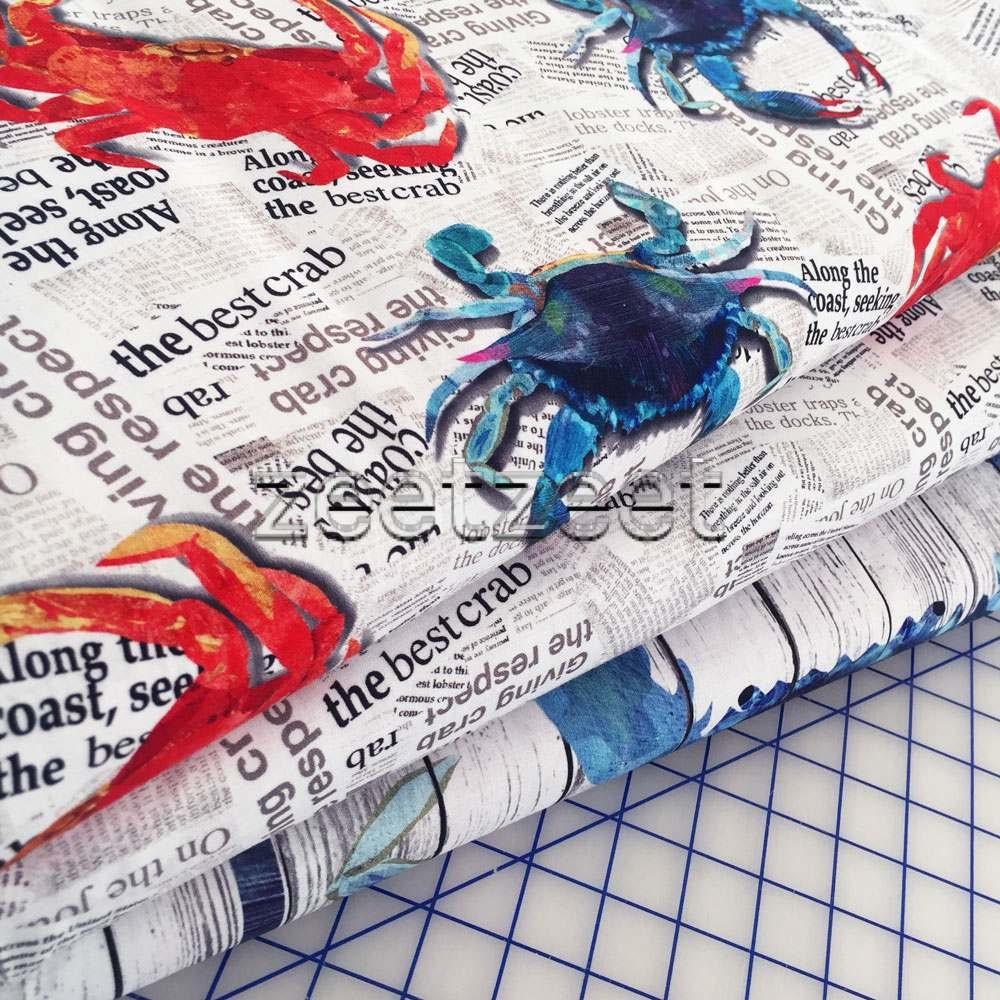 3 Crab Shack Newsprint News Red White Blue Crabs Quilt
