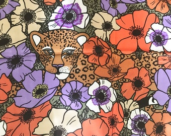 Vintage Gant Gaither Leopard and Poppy Floral Large Ladies Scarf- Signed