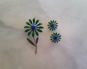 Green Enamel Flower Brooch Earring Set