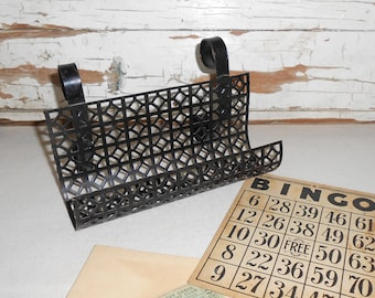 Vintage Mesh Honeycomb Metal Desk Organizer, Black Metal Letter Rack, Mid Century, Retro, Hollywood Regency