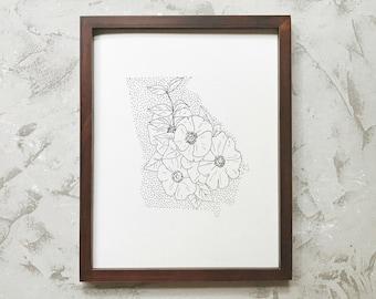 Georgia> Cherokee Rose> State Flower Drawing> Giclee Print