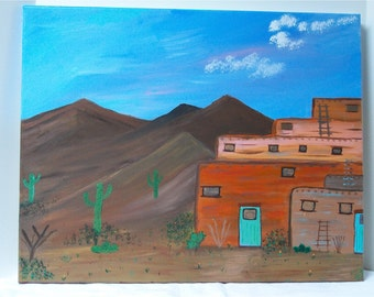 "The Pueblo, Original Acrylic Painting Wall Art Gallery Wrap  20"" by 16"""