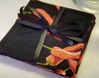 Mug Rug SET of 4, Chili Peppers, Fabric Coasters, Handmade, Hostess Gift, FREE Shipping in US