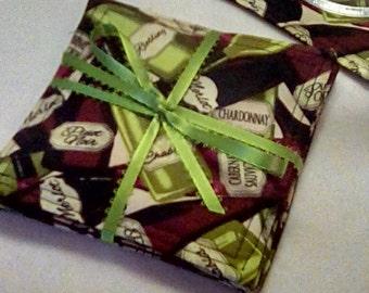 Mug Rug Set of 4, WINE LOVERS,  Fabric Coasters, Handmade, Hostess Gift, FREE Shipping in USet